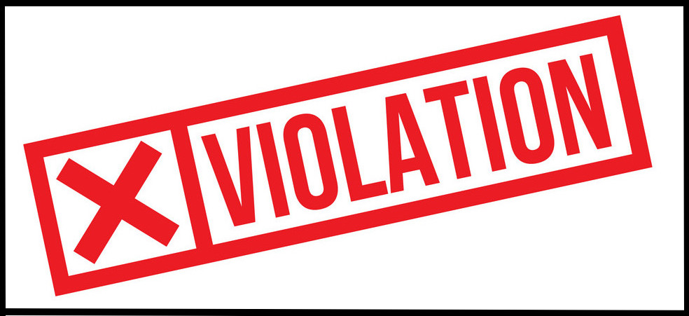 violation stamp on white background. Sign, label sticker